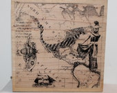 Old World MAP of North and South America with ship moth native  Rubber Stamp