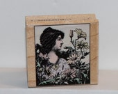 Hero Arts Woman with Flowers Rubber Stamp Poetic Prints