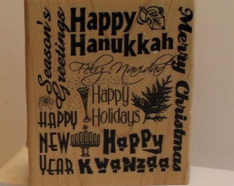 Happy Holidays with every holiday listed on this stamp Rubber Stamp