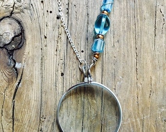 Magnifying Necklace/ Magnifying Glass Pendant/ Monocle/ Glass pendant/ Long Silver Chain/ Nickle Free Jewelry