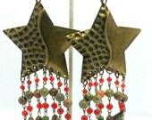 """Handcrafted Textured Brass Star Unakite Carnelian Bohemian 6"""" Goddess Chandelier Earrings OOAK Free Ship"""