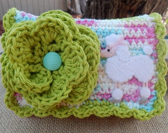 Crocheted Purse  ~  Lime and Pastels with White Poodle Crocheted Cotton Little Bit Purse  ~  Bubble Gum Style Crocheted Purse