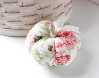 Pink Floral Pumpkin Pincushion Rose Floral Pumpkin Pin Keep