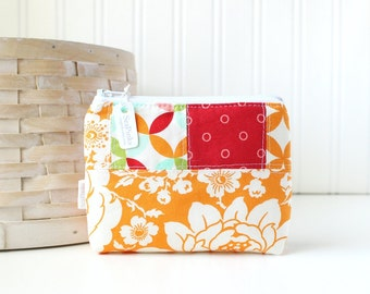 Red and Orange Patchwork Coin Purse Gift Card Credit Card Holder Floral Zipper Pouch Orange Change Purse