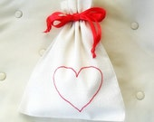 Embroidered Heart Valentines Gift / drawstring linen cotton bag / Fabric gift bag / Friendship Gift / Party Favor / Valentine's Day Gift