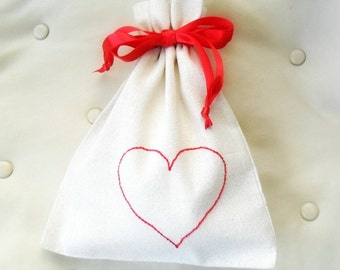 Valentines Day Gift bag / drawstring linen cotton bag  Embroidered Heart / Fabric gift bag / Friendship Gift / Party Favor / Valentines