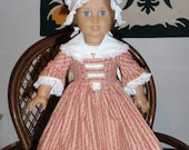 1770s 3 Pc Colonial Dress Gown Shawl Round Eared Cap for American Girl Felicity Elizabeth 18 inch doll