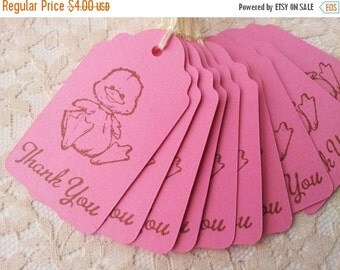 SALE Little Duck Pink Thank You Tags Baby Shower Its a Girl Set of 10