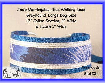 Jan's Martingales, Blue Walking Lead, Dog Collar and Lead Combination, Greyhound, Large Dog Size, Blu123