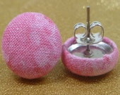 Pretty in Pink Print Fabric Button Earrings