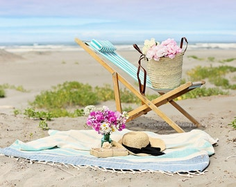Pastel ocean photography,beach chair,seashore,summer decor,turquoise,calming,dreamy beach photo