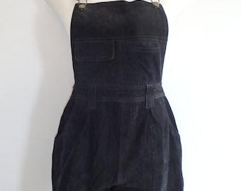 Overalls Vintage Shorts Suede Black