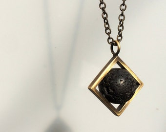 Volcanic-Round-Lava pendant for man-Luxurious Gemstone Necklace-Rugged chain-Grange Necklace-Grange Pendant-Cool-simple pendant for man-MJ