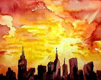 Anticipate.  New York Sunset watercolor painting