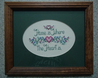 Home Is Where the Heart Is - Dark Green - Cross Stitch Picture - Wall Decor