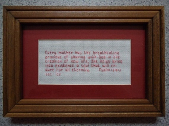 Every Mother- Salmon - Inspirational Cross Stitch Picture - Wall Decor