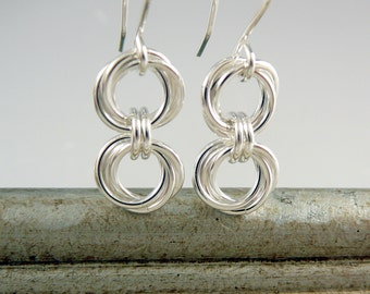 Sterling Silver Dangle Earrings, Nickel Free Earrings, 25th Anniversary Gift, Chain Earrings, Chainmail Jewelry, Circle Earrings 925 Jewelry