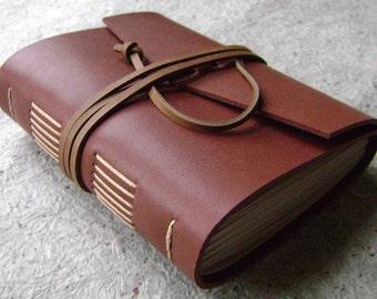 "Leather journal, 4"" x 6"", dark, handmade leather journal by Dancing Grey Studio(1667)"