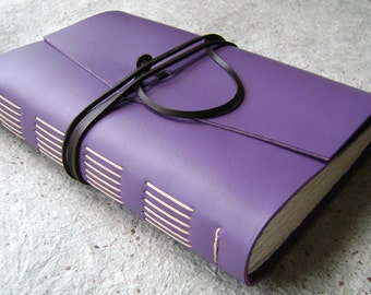 "Leather Journal, 6""x 9"", lavender journal, handmade journal by Dancing Grey Studio(2088)"