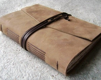 """Hand-sewn leather journal, 5.5""""x 7.5"""",  distressed tan, rugged leather journal by Dancing Grey Studio (2093)"""