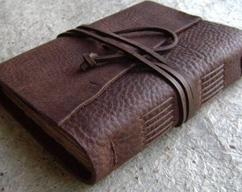 "Handmade Leather journal, 4"" x 6"", distressed brown, old world leather journal (2150)"