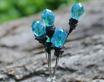 Aqua Faceted Headpin