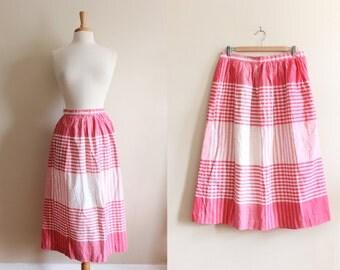Vintage White & Pink Plaid Midi Skirt
