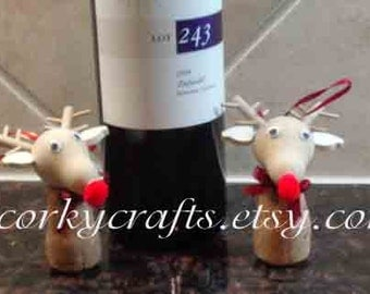 Sale Wine Cork Reindeer, tree ornament/secret santa gift/OOAK
