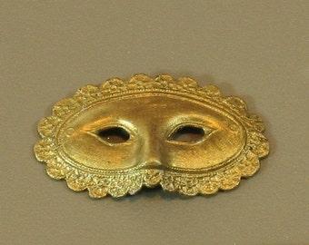 Vintage Miniature Gold Tone Eye Mask Charm