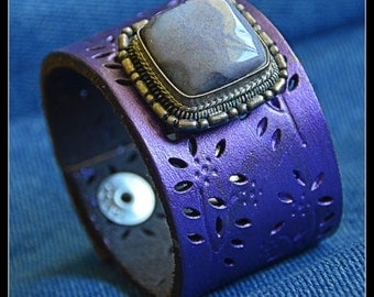 Purple Princess Recycled Leather Cuff
