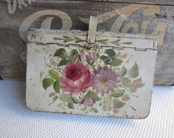 Vintage Hand Painted Tole Crumb Catcher Silent Butler Hinged Tin Shabby Cottage Decor