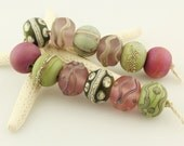 Lampwork Glass Bead Set  Etched Rustic Organic - Green, Pink, Lavender, Purple, Jewelry Supply