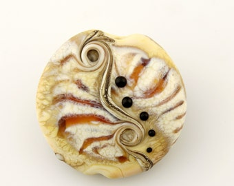 Lampwork Glass Bead, Organic Etched  Lentil Focal, Ivory, Brown, Black