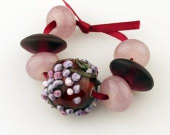 SRA Handmade Lampwork Glass Bead Set, Pink, Purple,  Grapes