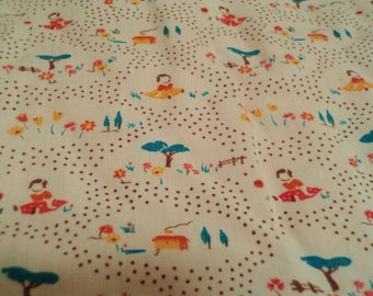 rare 1950s fabric, original 50s fabric, childrens fabric, childrens nursery, girls fabric, 1950s print 50s dress fabric,