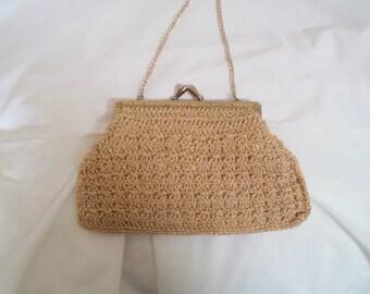 vintage gold bag, gold crochet bag, vintage 50s bag, vintage 50s purse, vintage gold purse, 50s costume, 50s pinup, gold 50s bag