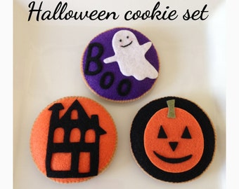 ETSY Pretend  Felt play food  Halloween Cookies Set(Big size 3pc)