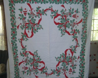 1950s PRINT KITCHEN TABLECLOTH - Christmas - Christmas Bells & Holly