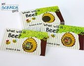 """Scratch Off Gender Reveal """"What Will It Bee?"""" Scratch-Off Game Card Reveal the Sex Gender Announcement Ticket Favor Qty-25"""