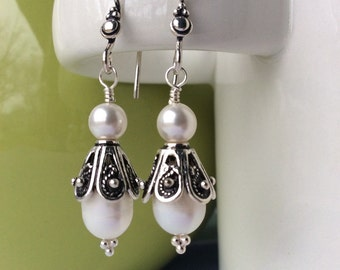 FREE SHIPPING Sterling Silver Teardrop White Pearl Elegant Bridal Earrings