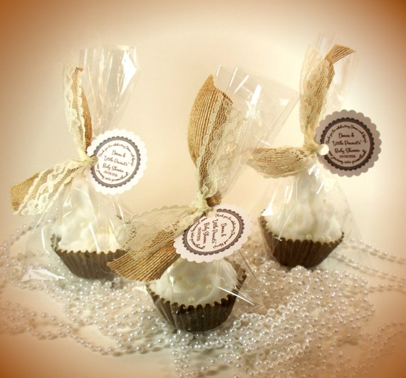 Burlap and Lace Cupcake Bath Bombs Bridal Shower Favors (Set of 50)