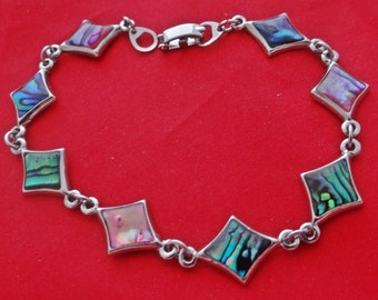 "Vintage silver tone 7.5"" bracelet with pink and blue abalone insets  in great condition, appears unworn"