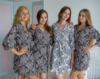 Charcoal Gray Damask Bridesmaids Robes   Kimono Wrap bridesmaids gifts, getting ready robes, Bridal shower favors, Dressing Gowns