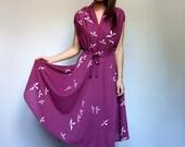 Purple Dress Sheer Summer Dress See Through Sundress Vintage Day Dress 70s Sundress - Large to Extra Large L XL