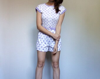 80s Womens Jumpsuit Vintage Playsuit Polka Dot Purple White One Piece Beach Cover Up Drawstring Romper Shorts - Extra Extra Small XXS XS