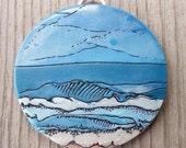 Ocean Waves Polymer Clay Pendant