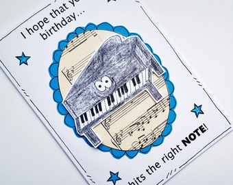 Birthday Card - Piano - Music Lover - Pianist - Grand Piano - Note - Card for Piano Player
