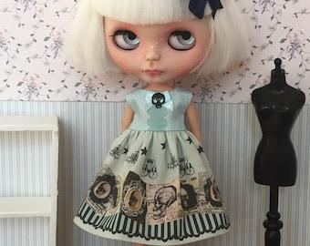 Mint and black skull dress for Blythe - Little Lénie