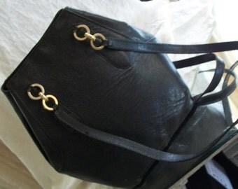 Vintage Exotic Leather Black Bucket Bag Briefing Paris Designer Made in Italy