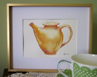 Original watercolour teapot painting ~ Golden Asian influenced teapot
